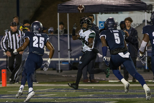 Hawaii wide receiver Cedric Byrd II (6) make the catch for a touchdown against Nevada in the second half of an NCAA college football game in Reno, Nev. Saturday, Sept. 28, 2019. (AP Photo/Tom R. Smedes)