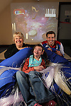 Official opening of the sensory room at  Crug Glas School in Swansea sponsored by BT and the Lords Taverners...Ann Beynon, BT Wales and Welsh paralympian Nathan Stephens with pupil Robyn Smith...05.12.12..©Steve Pope