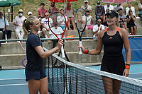 18th July 2020, Cannes, France;   Fiona Ferro France - Kristina Mladenovic france touch raquets at the end of the Challenge Elite FFT tournament