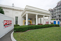 The White House West Wing in Washington, DC is undergoing renovations while United States President Donald J. Trump is vacationing in Bedminster, New Jersey on Friday, August 11, 2017.<br /> CAP/MPI/CNP/RS<br /> &copy;RS/CNP/MPI/Capital Pictures