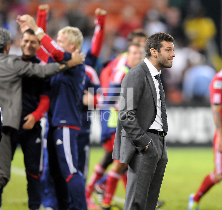 D.C. United head coach Ben Olsen after Chicago Fire forward Diego Chaves score the winning goal.  The Chicago Fire defeated D.C. United 2-1 at RFK Stadium, Saturday October 15, 2011.
