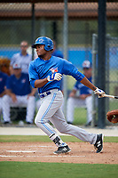Toronto Blue Jays left fielder D.J. Daniels (27) follows through on a swing during a Florida Instructional League game against the Pittsburgh Pirates on September 20, 2018 at the Englebert Complex in Dunedin, Florida.  (Mike Janes/Four Seam Images)