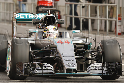 22.02.2016 Circuit Barcelona-Catalunya, Barcelona, Spain. Formula 1 test days.  Lewis Hamilton driving Mercedes AMG during the launch of  new cars for the upcoming Formula One season.