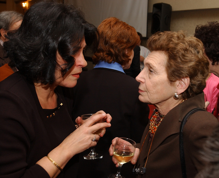 Barbara Fischkin and Marilyn Goldstein at retirement party for Harvey Aronson at the Huntington Hilton in Melville on Thursday January 20, 2005. (Photo copyright Jim Peppler 2005).