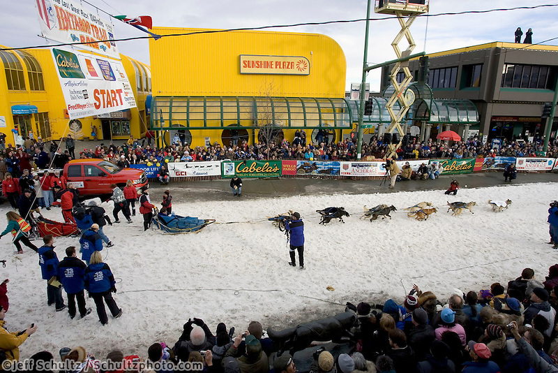 Dallas Seavey Leaves Start Line Ceremonial Start Iditarod 2005 Anchorage AK