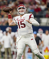 Hawgs Illustrated/Ben Goff<br /> Cole Kelley, Arkansas quarterback, throws the ball in the 2nd quarter vs Texas A&M Saturday, Sept. 29, 2018, during the Southwest Classic at AT&T Stadium in Arlington, Texas.