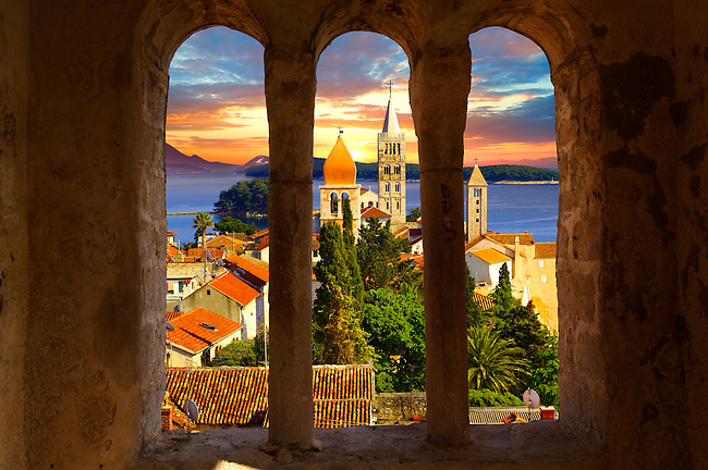 View from St John Church tower over the medieval roof tops of Rab town . Rab Island, Craotia