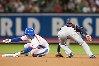 17 March 2009: #8 Keun Woo Jeon of Korea slides into second base safely from first base against #7 Yasuyuki Kataoka of Japan during the 2009 World Baseball Classic Pool 1 game 4 at Petco Park in San Diego, California, USA. Korea wins 4-1 over Japan.