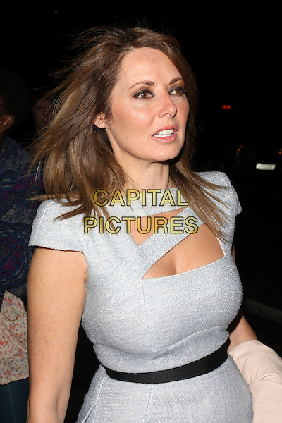 CAROL VORDERMAN.The Sun's new magazine 'Buzz' launch at Il Bottacio, London, England..September 15th, 2010.half length grey gray dress cut out black belt waist.CAP/AH.©Adam Houghton/Capital Pictures.