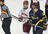 JD Dudek (BC - 15), Mathieu Tibbet (Merrimack - 22) - The visiting Merrimack College Warriors defeated the Boston College Eagles 6 - 3 (EN) on Friday, February 10, 2017, at Kelley Rink in Conte Forum in Chestnut Hill, Massachusetts.