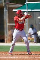 GCL Cardinals left fielder Walker Robbins (16) at bat during the first game of a doubleheader against the GCL Marlins on August 13, 2016 at Roger Dean Complex in Jupiter, Florida.  GCL Cardinals defeated GCL Marlins 4-2 in a continuation of a game originally started on August 8th.  (Mike Janes/Four Seam Images)