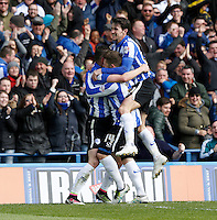 Sheffield Wednesday v Cardiff .Sky Bet Championship ....... Wednesdays double scorer Gary Hooper celebrates withteam ates Daniel Pudil and Kieran Lee