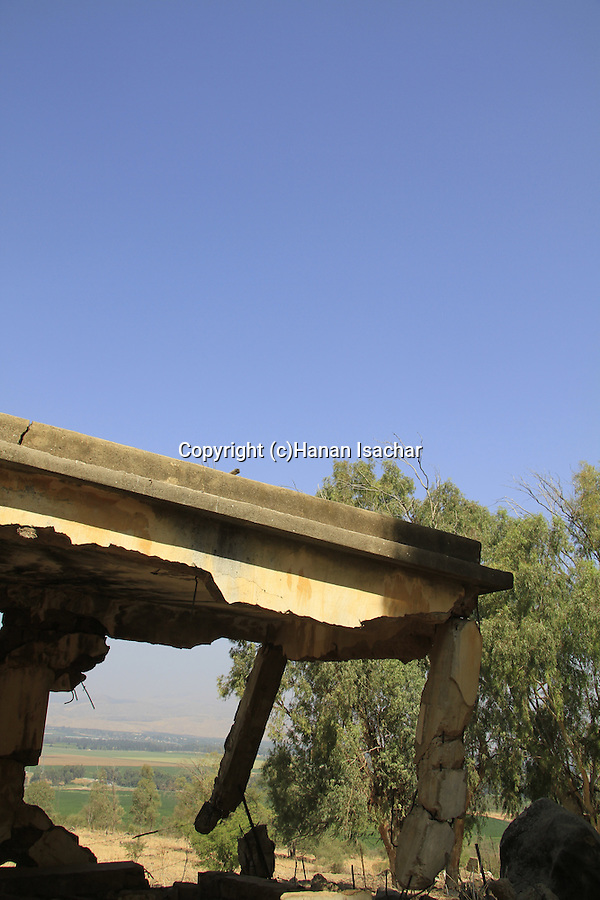 Golan Heights, remains of the Syrian military outpost Jalabina overlooking the Hula valley