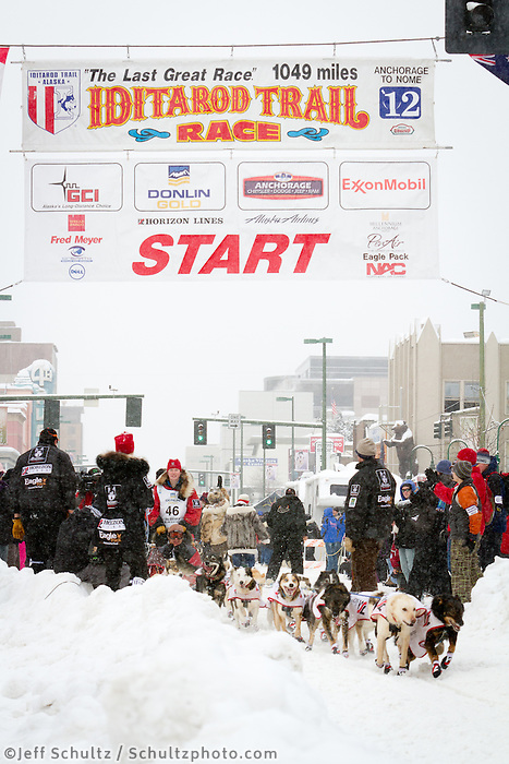 Ryne Olson leaves the 2011 Iditarod ceremonial start line in downtown Anchorage, during the 2012 Iditarod..Jim R. Kohl/Iditarodphotos.com