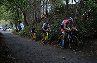 The leading trio up the steep Koppenberg<br /> <br /> Elite Men's race<br /> Koppenbergcross / Belgium 2017