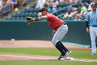Indianapolis Indians first baseman Jose Osuna (13) on defense against the Columbus Clippers at Huntington Park on June 17, 2018 in Columbus, Ohio. The Indians defeated the Clippers 6-3.  (Brian Westerholt/Four Seam Images)