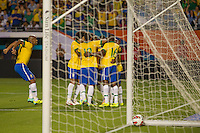Miami, FL - Saturday, Nov 16, 2013: Brazil vs Honduras during an international friendly at Miami's Sun Life Stadium. Brazilian team celebrates Maicon's goal.