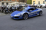 Police Lamborghini ready for the 2019 Strade Bianche running 184km from Siena to Siena, held over the white gravel roads of Tuscany, Italy. 8th March 2019.<br /> Picture: Eoin Clarke | Cyclefile<br /> <br /> <br /> All photos usage must carry mandatory copyright credit (&copy; Cyclefile | Eoin Clarke)