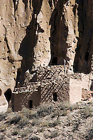 Main Loop trail in Frijoles Canyon at Bandelier National Monument, New Mexico.  Showing the archeological features left by the Ancestral Pueblo People (Anasazi).  Reconstructed Talus House along the canyon wall.