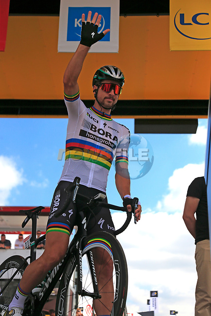 World Champion Peter Sagan (SVK) Bora-Hansgrohe at sign on in Mondorf-les-Bains before the start of Stage 4 of the 104th edition of the Tour de France 2017, running 207.5km from Mondorf-les-Bains, Luxembourg to Vittel, France. 4th July 2017.<br /> Picture: Eoin Clarke | Cyclefile<br /> <br /> <br /> All photos usage must carry mandatory copyright credit (&copy; Cyclefile | Eoin Clarke)