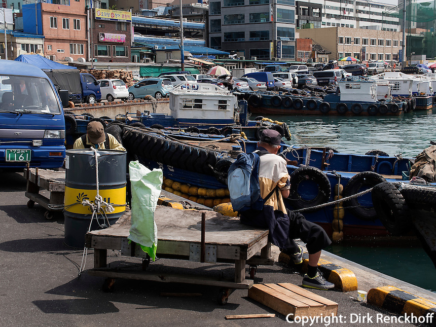 Fischereihafen  in Jagalchi,  Busan, Gyeongsangnam-do, S&uuml;dkorea, Asien<br /> fishing port at Jagalchi, Busan,  province Gyeongsangnam-do, South Korea, Asia