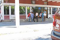 People waiting at the border crossing between Montenegro and Albania. Montenegro, Balkan, Europe.