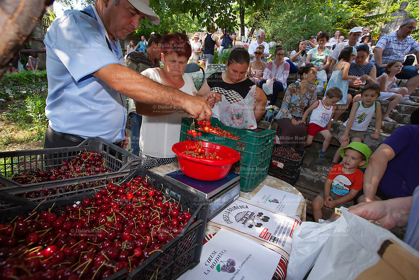 Romania. Iași County. Iasi. The cherries market at Ion Creangă Memorial House which is part of the Iași Romanian Literature Museum (Muzeul Literaturii Romane Iasi). Ion Creangă Memorial House was the first Memorial House from Romania opened in Iași in 1918. Ion Creangă (1837 – 1889) was a Moldavian-born Romanian writer, raconteur and schoolteacher. He is a main figure in 19th century Romanian literature. Iași (also referred to as Iasi, Jassy or Iassy) is the largest city in eastern Romania and the seat of Iași County. Located in the Moldavia region, Iași has traditionally been one of the leading centres of Romanian social and artist life. The city was the capital of the Principality of Moldavia from 1564 to 1859, then of the United Principalities from 1859 to 1862, and the capital of Romania from 1916 to 1918. 14.06.15 © 2015 Didier Ruef