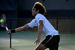WINSTON SALEM, NC - MAY 22: Skander Mansouri of the Wake Forest Demon Deacons attacks the net against the Ohio State Buckeyes during the Division I Men's Tennis Championship held at the Wake Forest Tennis Center on the Wake Forest University campus on May 22, 2018 in Winston Salem, North Carolina. (Photo by Jamie Schwaberow/NCAA Photos via Getty Images)