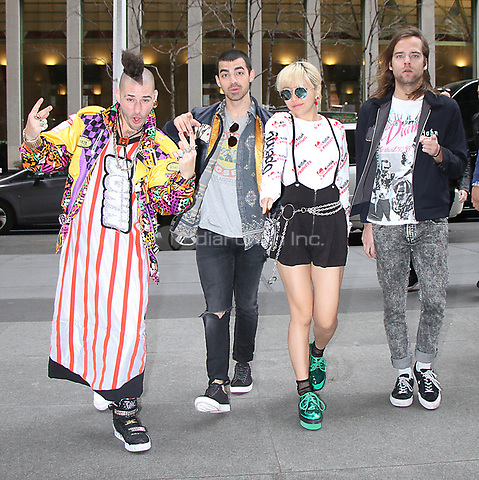 NEW YORK, NY - APRIL 14: Cole Whittle, Joe Jonas, JinJoo Lee and Jack Lawless of DNCE at SiriusXM Studios in New York City on April 14, 2017. Credit: RW/MediaPunch