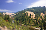 The Clearwater River, which is wholly within the State of Idaho, hosted Native Americans and Lewis and Clark.  The South Fork Clearwater River is shown here near Kooskia, Idaho along State Highway 13, and alternate route from Lewiston to Grangeville.  The South Fork Clearwater shares it's headwaters with the remote Red River and is joined by the equally famous Lochsa.  Both famous for rafting, kayaking, fishing, hiking, camping and wildlife.