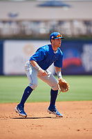 Dunedin Blue Jays shortstop Logan Warmoth (7) during a Florida State League game against the Charlotte Stone Crabs on April 17, 2019 at Charlotte Sports Park in Port Charlotte, Florida.  Charlotte defeated Dunedin 4-3.  (Mike Janes/Four Seam Images)