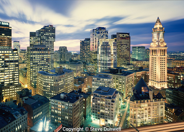 Downtown skyline night, Boston, MA from Harbor Towers (Imacon-MP)