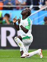 (180624) -- YEKATERINBURG, June 24, 2018 -- Sadio Mane of Senegal celebrates his scoring during the 2018 FIFA World Cup WM Weltmeisterschaft Fussball Group H match between Japan and Senegal in Yekaterinburg, Russia, June 24, 2018. ) (SP)RUSSIA-YEKATERINBURG-2018 WORLD CUP-GROUP H-JAPAN VS SENEGAL LiuxDawei PUBLICATIONxNOTxINxCHN  <br /> YEKATERINBURG 24-06-2018 Football FIFA World Cup Russia  2018 <br /> Japan - Senegal / Giappone - Senegal<br /> Foto Xinhua/Imago/Insidefoto