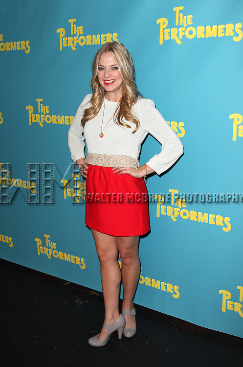 "Actress Jenni Barber attends press event to introduce the cast and creators of the new Broadway play ""The Performers""at the Hard Rock Cafe on Tuesday, Sept. 25, 2012 in New York. (Photo by © Walter McBride/WM Photography//AP)"