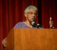 NWA Democrat-Gazette/ANDY SHUPE<br /> Peggy Taylor Lewis, who was one of the first black students to graduate from Fayetteville High School, speaks Thursday, Oct. 11, 2018, during a presentation by the four Fayetteville Public Schools Hall of Honor inductees in the Performing Arts Center on the Fayetteville High School campus. Also inducted were longtime educator Faye Jones, pediatric dentist James Hunt and beloved educator George Spencer.