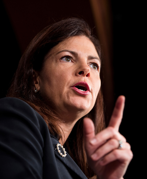 UNITED STATES - OCTOBER 30: Sen. Kelly Ayotte, R-N.H., speaks in the Senate Radio/TV Gallery studio during the news conference on Benghazi on Wednesday, Oct. 30. 2013. (Photo By Bill Clark/CQ Roll Call)