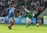 13.05.2018 Hibs v Rangers: Jamie Maclaren cscores his second goal to put Hibs 4-5