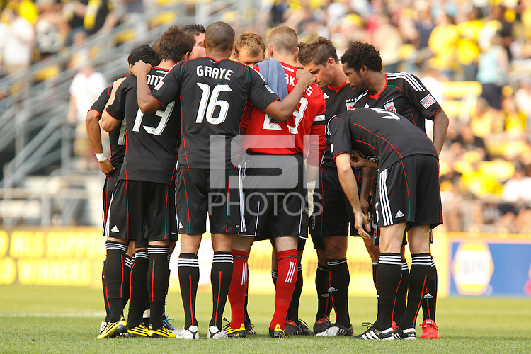 26 JUNE 2010:  DC United get ready for the MLS soccer game between DC United vs Columbus Crew at Crew Stadium in Columbus, Ohio on May 29, 2010. The Crew defeated DC United 2-0.