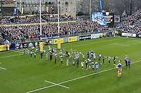 The Bath Rugby team run out for the match. Aviva Premiership match, between Bath Rugby and Exeter Chiefs on December 31, 2016 at the Recreation Ground in Bath, England. Photo by: Patrick Khachfe / Onside Images