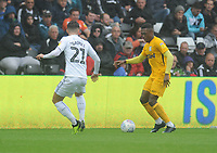 Preston North End's Darnell Fisher under pressure from Swansea City's Matt Grimes<br /> <br /> Photographer Kevin Barnes/CameraSport<br /> <br /> The EFL Sky Bet Championship - Swansea City v Preston North End - Saturday August 11th 2018 - Liberty Stadium - Swansea<br /> <br /> World Copyright &copy; 2018 CameraSport. All rights reserved. 43 Linden Ave. Countesthorpe. Leicester. England. LE8 5PG - Tel: +44 (0) 116 277 4147 - admin@camerasport.com - www.camerasport.com