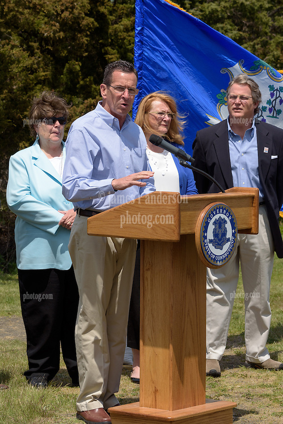 Connecticut Governor Dannel Malloy speaking at the Groundbreaking Ceremony for the New Meigs Point Nature Center at Hammonasset Beach State Park.
