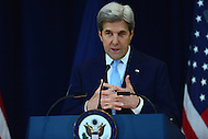 Washington, DC - December 28, 2016: U.S. Secretary of State John Kerry delivers remarks on Middle East Peace at the Department of State's Dean Acheson Auditorium, December 28, 2016.    (Photo by Don Baxter/Media Images International)