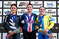 Picture by Alex Whitehead/SWpix.com - 10/12/2017 - Cycling - UCI Track Cycling World Cup Santiago - Velódromo de Peñalolén, Santiago, Chile - USA's Madalyn Godby wins Gold in the Women's Keirin final, Silver - New Zealand's Natasha Hansen, Bronze - Ukraine's Liubov Basova.