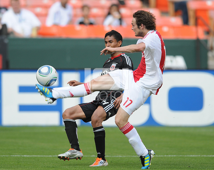 AFC Ajax defender Daley Blind (17) goes against DC United midfielder Andy Najar (14)    AFC Ajax defeated DC United 2-1 during an International Friendly at RFK Stadium Sunday May 22, 2011.