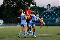 Rochester, NY - Friday July 01, 2016: Chicago Red Stars defender Katie Naughton (5), Chicago Red Stars forward Sofia Huerta (11), Western New York Flash midfielder Abby Erceg (6) during a regular season National Women's Soccer League (NWSL) match between the Western New York Flash and the Chicago Red Stars at Rochester Rhinos Stadium.