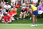 DES MOINES, IA - AUGUST 19: Europe's Georgia Hall rolls in her winning putt on the 17th hole of their match, Saturday at the 2017 Solheim Cup in Des Moines, IA. (Photo by Dave Eggen/Inertia)
