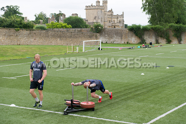 Tom Homer of Bath Rugby in action. Bath Rugby pre-season S&C session on June 22, 2017 at Farleigh House in Bath, England. Photo by: Patrick Khachfe / Onside Images