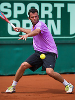13-07-13, Netherlands, Scheveningen,  Mets, Tennis, Sport1 Open, day six, Marc Gicquel (FRA)<br /> <br /> <br /> Photo: Henk Koster