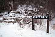 Crawford Notch State Park - Willey House Station site located along the Maine Central Railroad (near Ethan Pond Trail) in the White Mountains, New Hampshire USA. Blowing snow can be seen in image.