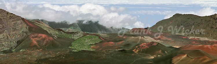 Multi colored conder cones and lava flows define the crater landscape in Haleakala National Park on Maui in Hawaii USA